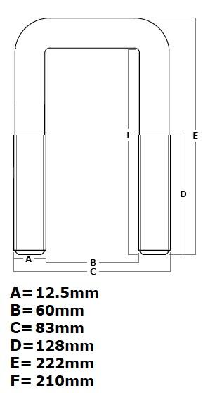 Trailer Spare Wheel Mount U-Bolt (60mm x 210mm)